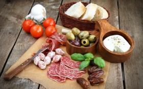 Картинка сыр, хлеб, помидоры, оливки, колбаса, tomatoes, cheese