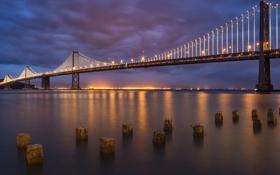 Картинка мост, огни, вечер, San Francisco, Bay Bridge, South Beach, Dusk