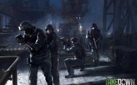 Картинка ночь, улица, полиция, солдаты, swat, Takedown