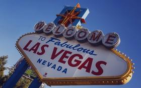 Обои надпись, знак, лампочки, Las Vegas, Nevada, добро пожаловать в Лас-Вегас