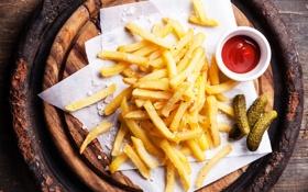 Картинка ломтики, sauce, картофель, соус, potato, огурцы