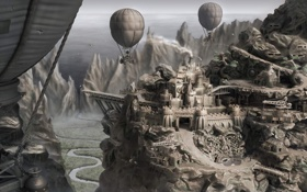 Обои город, река, воздушные шары, скалы, долина, арт