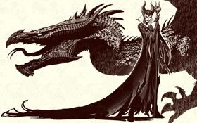 Обои фантастика, дракон, колдунья, королева, Maleficent, Малефисента