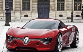 Картинка машины, красный, улица, здание, концепт, кар, renault