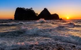 Картинка море, солнце, закат, остров, прибой