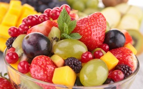 Обои fresh, фрукты, berries, salad, ягоды, fruits, десерт