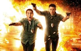 Обои взрыв, оружие, огонь, пламя, пистолеты, полиция, искры