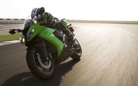 Обои спорт, скорость, мотоцикл, moto, bike, гонщик, kawasaki