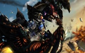Обои взрывы, битва, Transformers