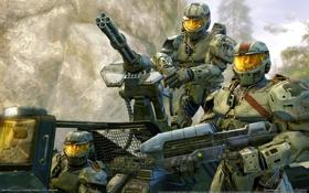 Картинка машина, оружие, скалы, войны, броня, halo wars