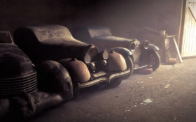 Картинка авто, лучи, машины, фон, обои, старые, пыль