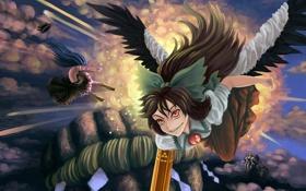 Обои небо, облака, взрыв, девушки, крылья, арт, Touhou