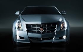 Обои серый, фон, фары, Cadillac, купе, CTS, полумрак