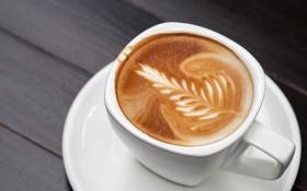 Обои пена, узор, кофе, чашка, блюдце, эспрессо