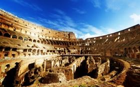 Картинка Italy, небо, внутри, Рим, Colosseum, амфитеатр, руины
