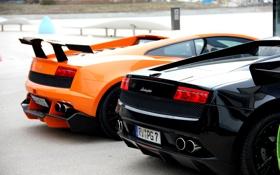 Обои черный, оранжевый, orange, black, ламборгини, gallardo, Lamborghini
