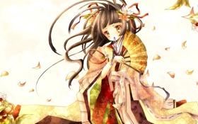 Картинка цветы, аниме, веер, девочка, лента, кимоно