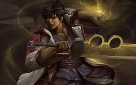 Обои движение, сила, рука, меч, арт, парень, ninja saga