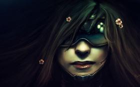 Картинка девушка, цветы, отражение, очки, микрофон