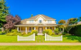 Картинка зелень, небо, трава, солнце, деревья, дизайн, дом