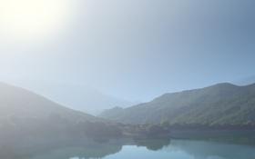 Обои небо, вода, солнце, горы, фото, пейзажи, нежность