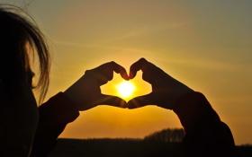 Обои закат, небо, heart, силуэт, любовь, sun, фон