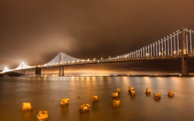Картинка небо, ночь, мост, город, огни, залив
