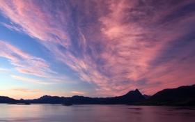 Картинка море, горы, рассвет, Обои, картинка