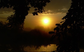 Обои лето, озеро, Солнце, утро