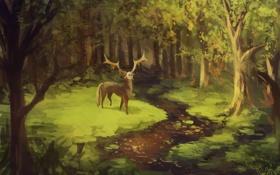 Картинка зелень, лес, река, олень, маска, арт, нарисованный пейзаж