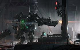 Картинка машина, город, оружие, человек, робот, арт, битва