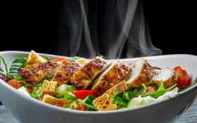 Обои курица, овощи, салат, куриное филе