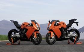 Картинка небо, горы, мотоциклы, трек, bike, orange, ktm