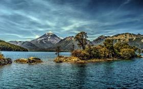 Обои горы, озеро, обработка, островок, Аргентина