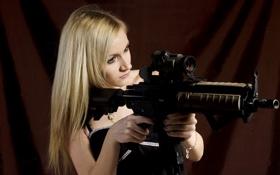 Обои девушка, оружие, HK416
