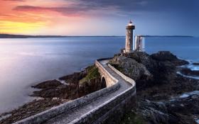 Картинка закат, облака, горизонт, маяк, огни, море