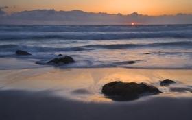 Обои море, небо, вода, солнце, облака, камни, океан
