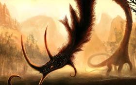 Обои лес, морда, замок, дракон, монстр, арт, шея