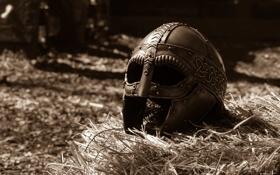 Обои металл, фон, доспехи, шлем
