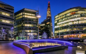 Картинка деревья, город, огни, Англия, Лондон, здания, небоскреб