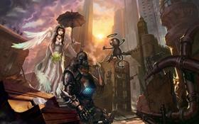 Картинка девушка, цветы, город, робот, крылья, зонт, мышь