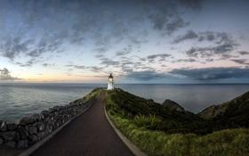 Картинка Sunset, Lighthouse, Northland, Cape Reinga