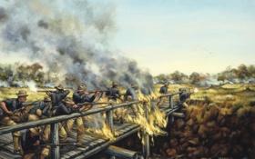 Обои мост, кавбои, 1899, Philippine Islands, Soldiers in the Sun by Donna Neary, Luzon, May 6