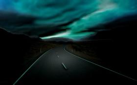 Картинка пейзаж, ночь, дорога