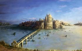 Обои вода, мост, озеро, замок, корабли, арт, крепость