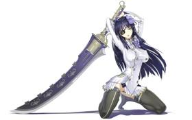 Обои девушка, цветы, оружие, меч, чулки, брюнетка, повязка