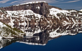 Картинка небо, горы, скала, озеро, отражение, скалы, гора