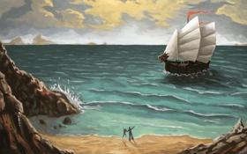 Картинка море, люди, корабль, арт, ожидание, нарисованный пейзаж