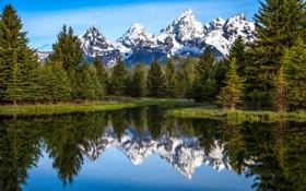 Обои небо, снег, деревья, горы, озеро, отражение, река