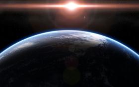 Обои атмосфера, облака, звезды, планета, поверхность